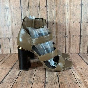 Tory Burch Jones Heel Strappy Taupe Brown Size 8